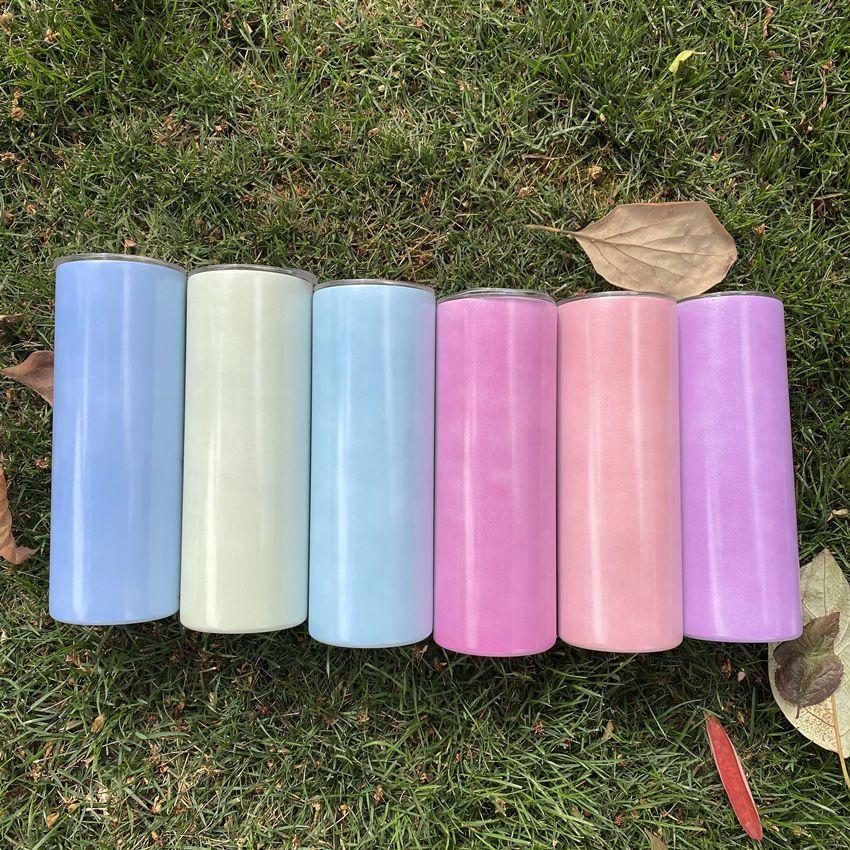 Güneşte Renk Değişim 20 Oz Süblimasyon Sıska Düz Tumblers Toptan Paslanmaz Çelik Su Şişesi İçme Süt Kupaları Isı Transferi Çift Yalıtımlı Bardak A12