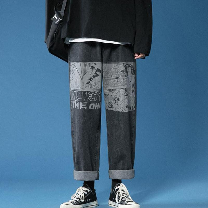 Мультфильм Печатные джинсы 2021 Мужские весенние ins Trend Eurestial Талия Корейские брюки повседневные Свободные Широчные брюки Осень Черный