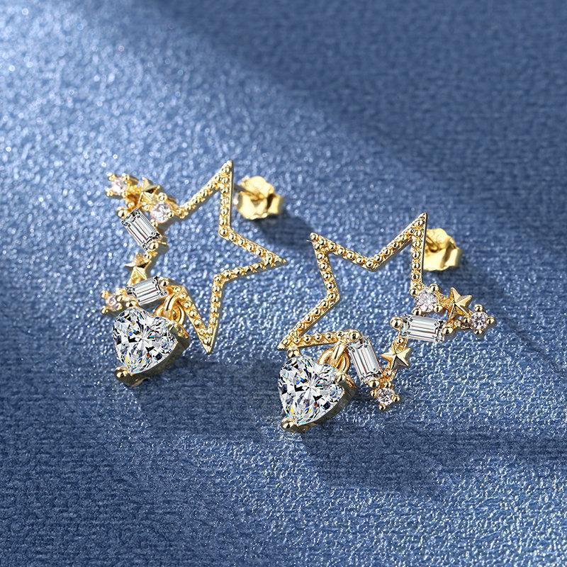 Stud Star CZ Zircon Women Earring Delicate Shape Wedding Engagement Party Bridal Earrings High Quality Jewelry