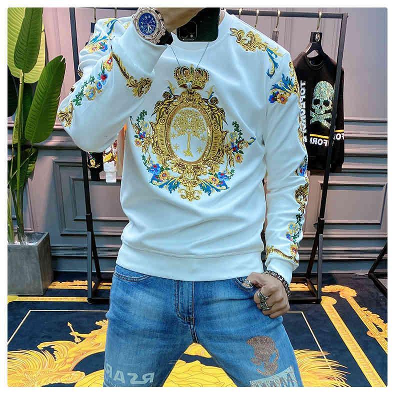 Men's Hoodies & Sweatshirts Luxurious sweatshirt, gold, black, man, baroque embroidery, sequins, crown, men, club, outwear, harajuku sweatshirt T9JY