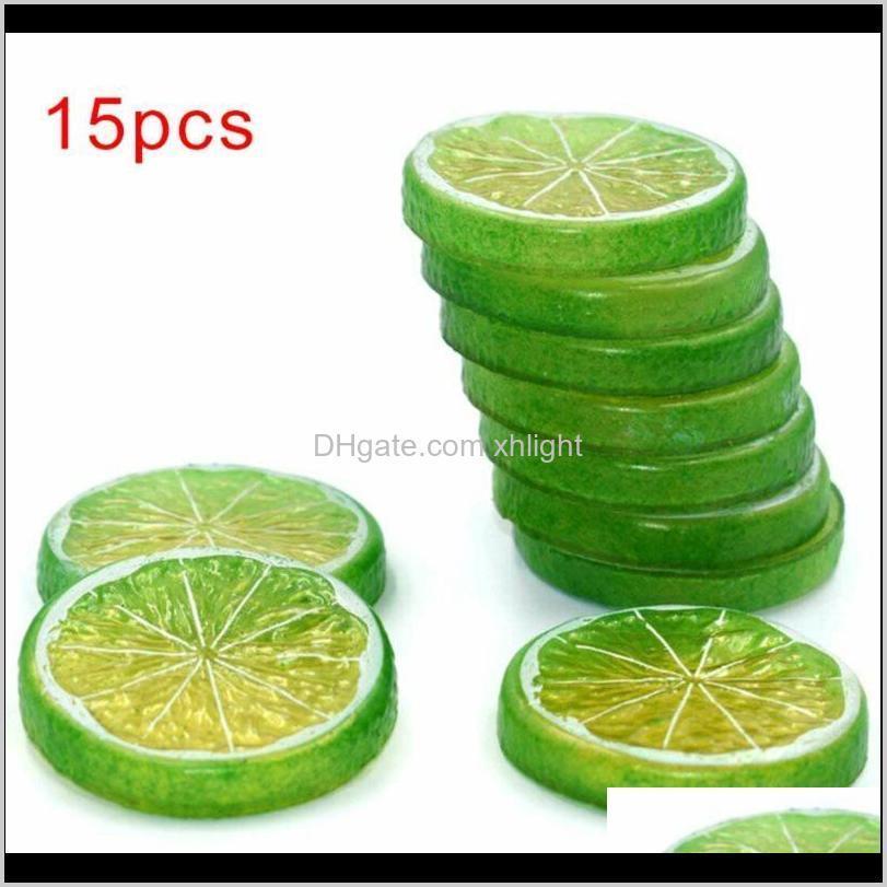 Flores decorativas grinaldas festivas festas suprimentos doméstico gota entrega 2021 15 fatias de frutas artificiais laranja limão prop