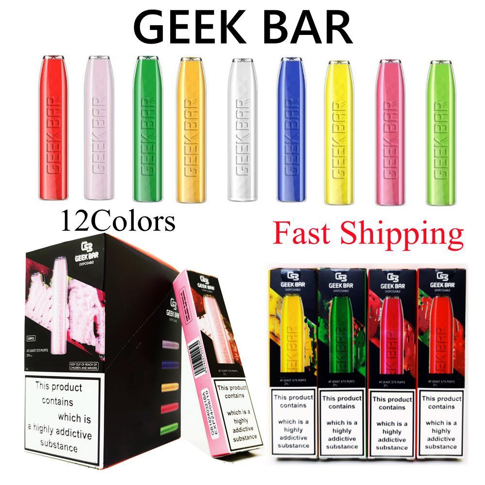 Geek Bar Vape Vape Pen E Cigarrillos 575puffs 350mAh batería 2ml Pod 12 colores Fast Ship Wholesale