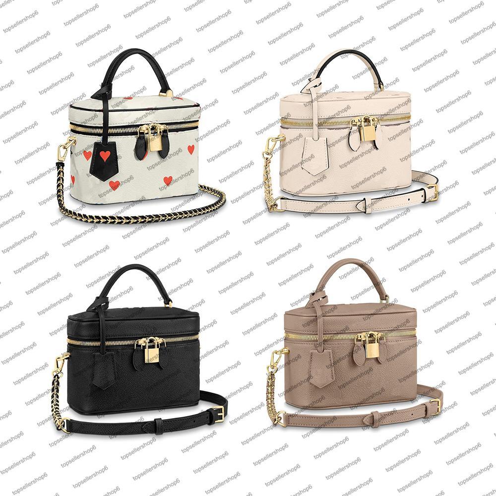 M45780 gioco su vanity pm borsa borsa da donna in pelle bovina in pelle bovina cuoio cuoio in rilievo cuore bellezza borsetta crossbody bowboag frizione M45599