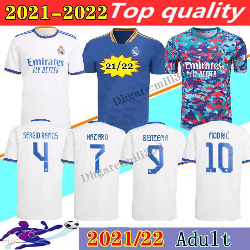 21 22 REAL MADRID soccer jerseys 2021 2022 ALABA HAZARD SERGIO RAMOS BENZEMA ASENSIO MODRIC MARCELO fourth camiseta football shirt training shirts