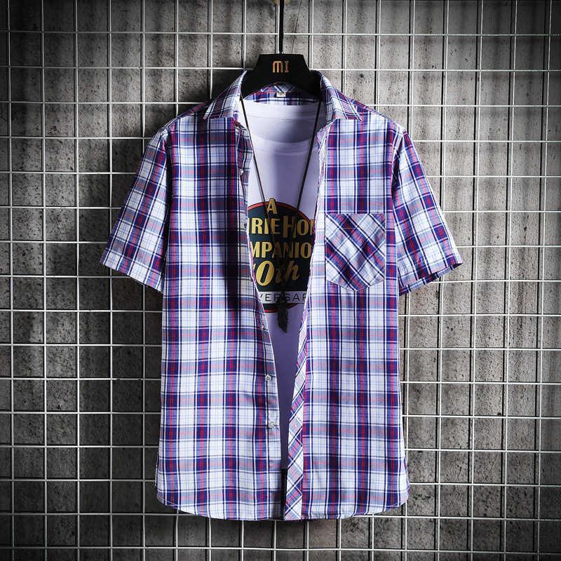 2021 novo verão moda fina tendência homens xadrez de manga curta camisa estudante jovem coreano topkwjq
