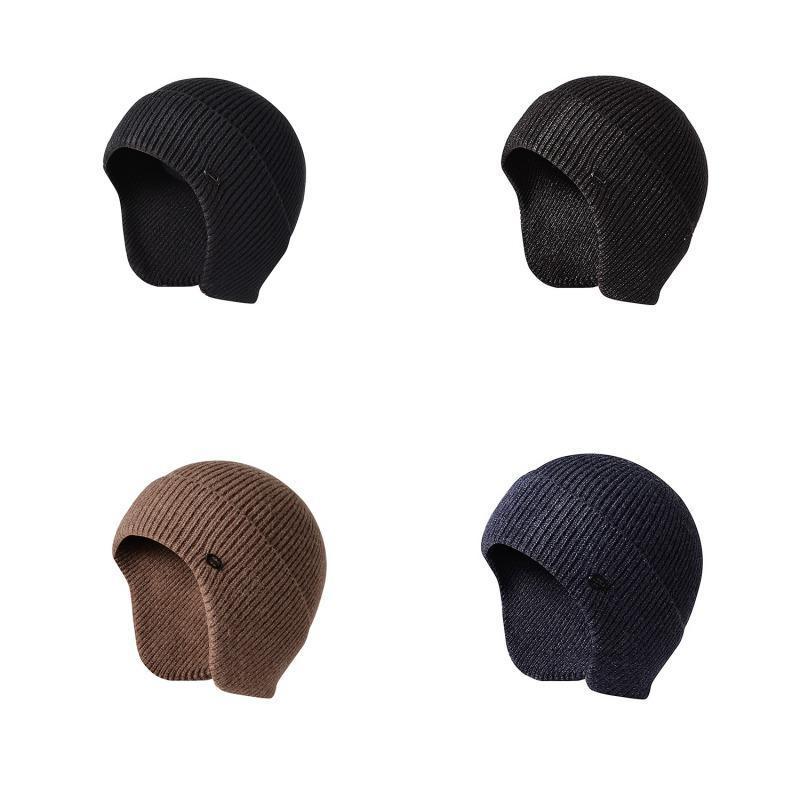 유니섹스 니트 모자 귀마개 모피 따뜻한 모자 야외 캐주얼 뜨개질 귀 보호 벨벳 일반 직조 W1 모자