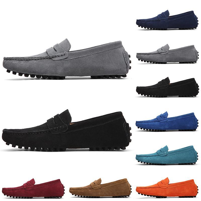 Chaussures de daim décontractées non-marques Noir bleu clair bleu rouge orange vert brun brun glissement sur la chaussure en cuir paresseux