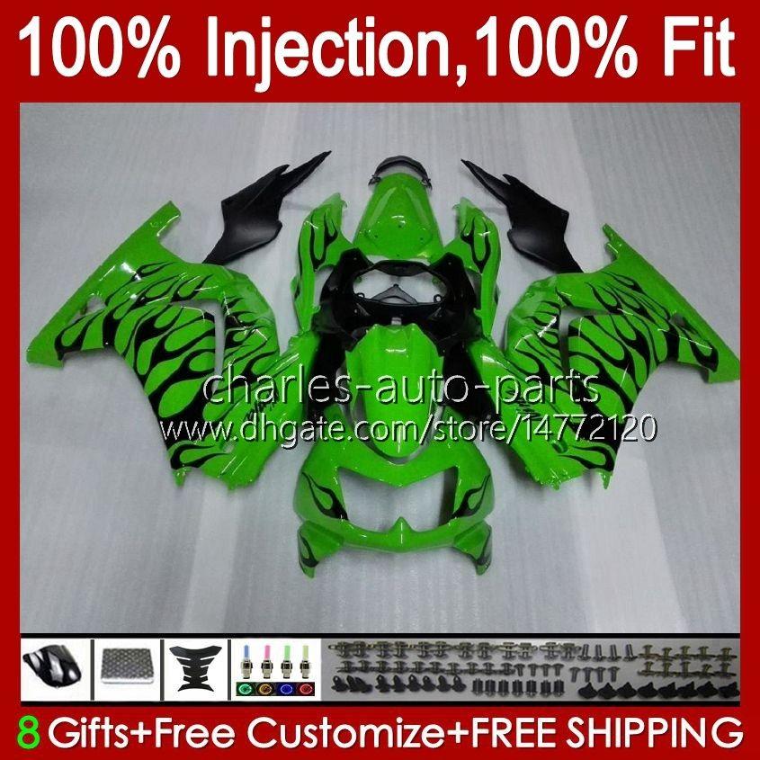 Iniezione per Kawasaki Ninja ZX250R EX250 2009 2009 2010 2011 2011 13HC.20 Black Flames EX250R ZX-250R ZX250 ZX 250R 08 09 10 11 12 Fairing
