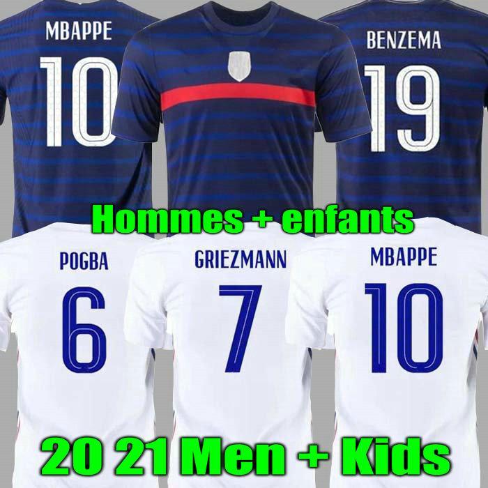 남자 아이들 2021 Griezmann Mbappe 축구 유니폼 Kante 20 21 여성 Pogba 셔츠 Maillot de Football France Zidane Giroud Kimpembe Pavard Benzema Hommes Enfants