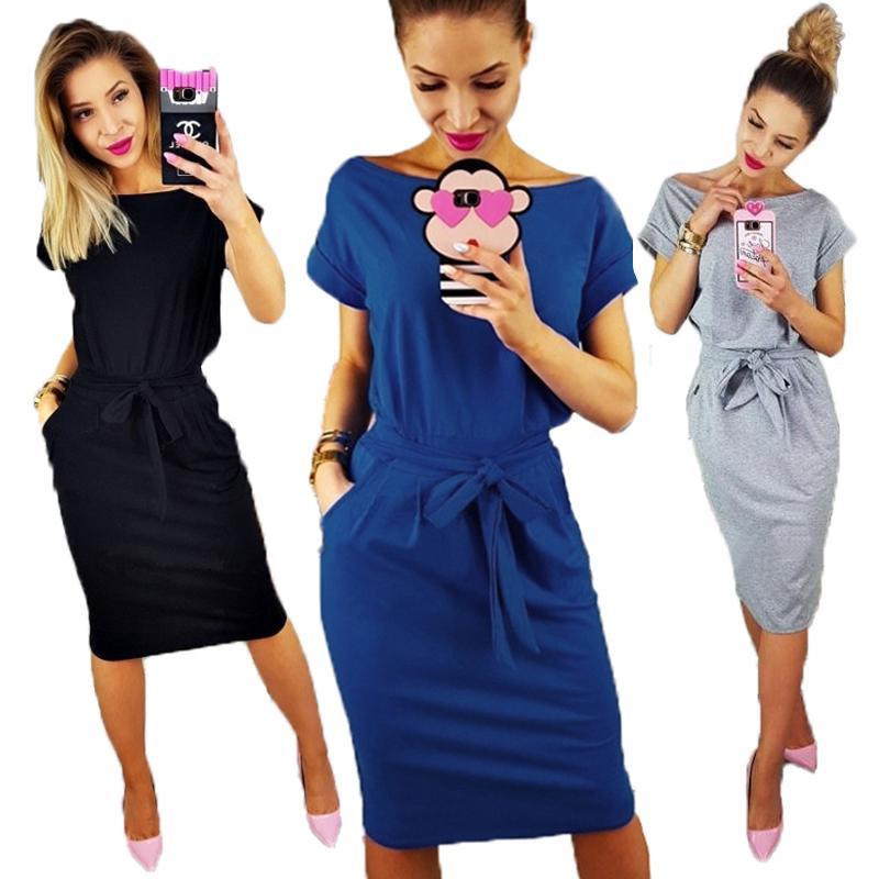 Vestido de camiseta flojo de manga corta para damas 2020 Vestido de verano Mujeres Tallas grandes Bolsillo azul Casual Algodón Midi Wrap Vestidos Mujer X0521