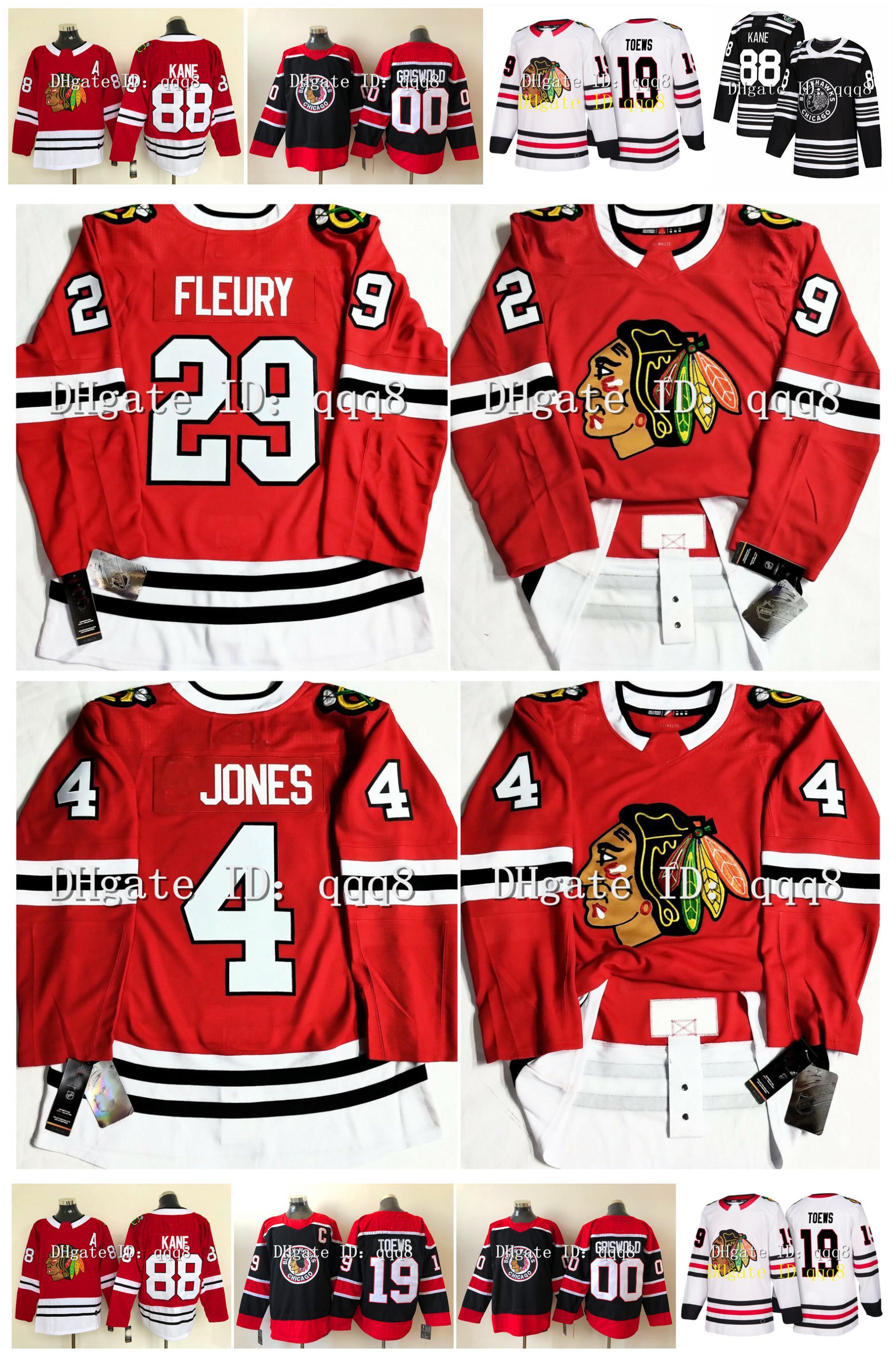 Chicago Blackhawks Jersey 29 Marc-Andre Fleury 4 Seth Jones 19 Jonathan Toews 88 Patrick Kane 00 Clark Griswold 12 Alex DeBrincat Reverse Retro Hockey