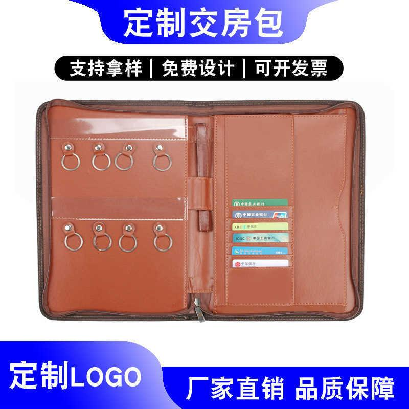 Pu Leather Key Zipper Real Estate Briefcase Delivery Bag