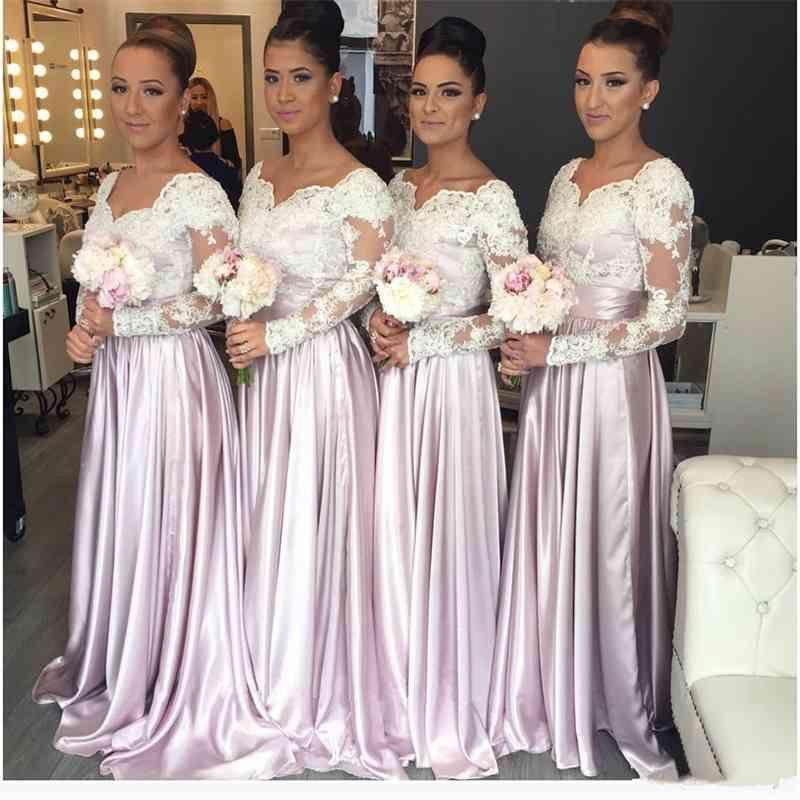 2021 Light Rosa Longa mangas Lace Bodice Barato Dama de honra Vestidos Sweetheart Appliques Long Elegant Árabe Maid of the Honor Vestidos