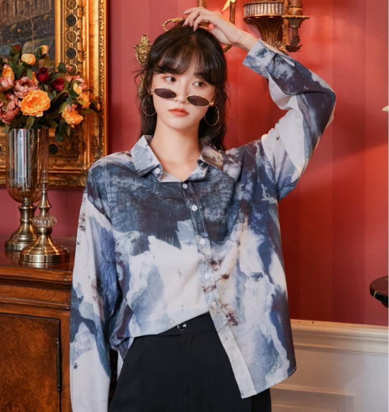 Women Vintage Print Long Sleeve Shirt Cardigan Spring Autumn Clothes Female Streetwear Loose Casual Shirts Coat Blouses Tops Women's &