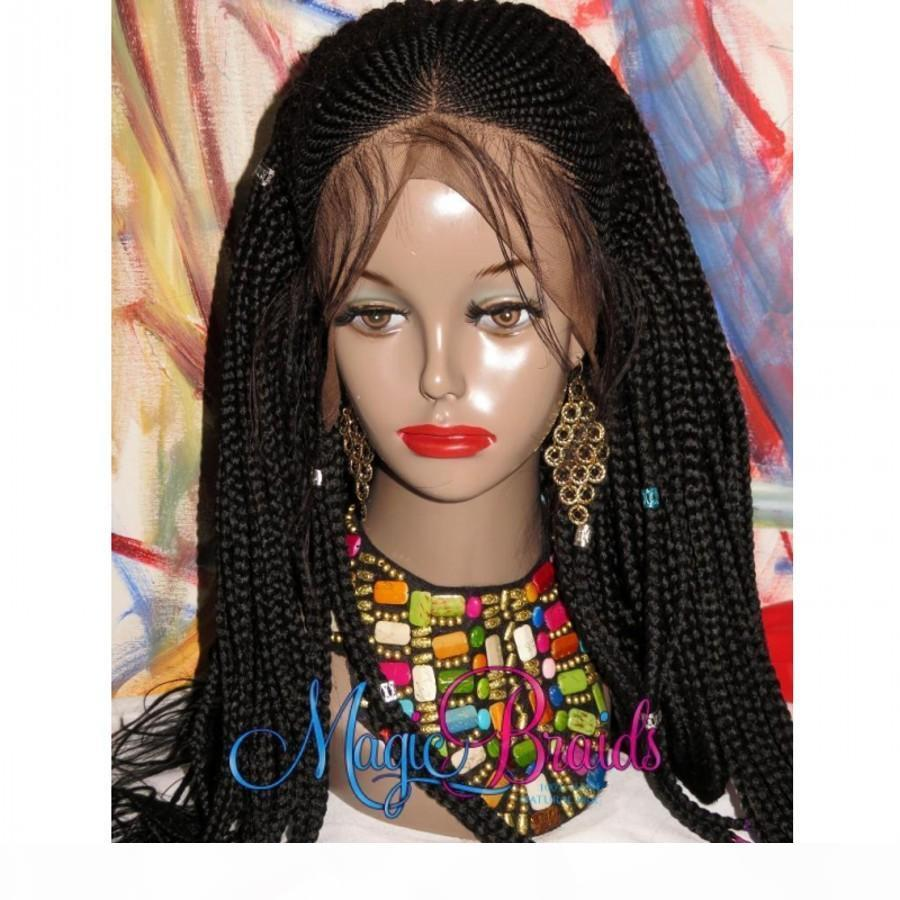 Novas Mulheres Afro Lace Frontal Crowrow Peruca Sintética Perucas De Renda Trançado Frente Para Mulheres Pretas Premium Braided Box Tranças Peruca Com Cabelo Do Bebê