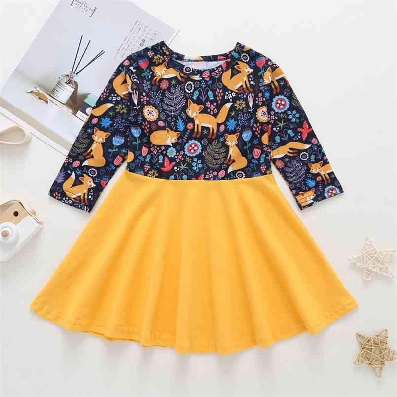 Autunno ragazze vestito estate carino manica lunga o collo patchwork stampa a-line vestidos 1-6t 210623