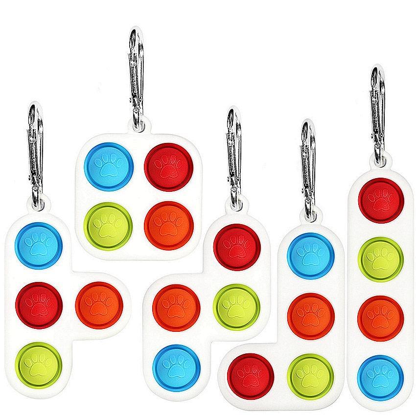 다른 모양 5 styless pop 푸시 거품 fidget 장난감 키 체인 pandent 스트레스 reliever sensory 실리콘 장난감 열쇠 고리 키즈 선물 LLA597
