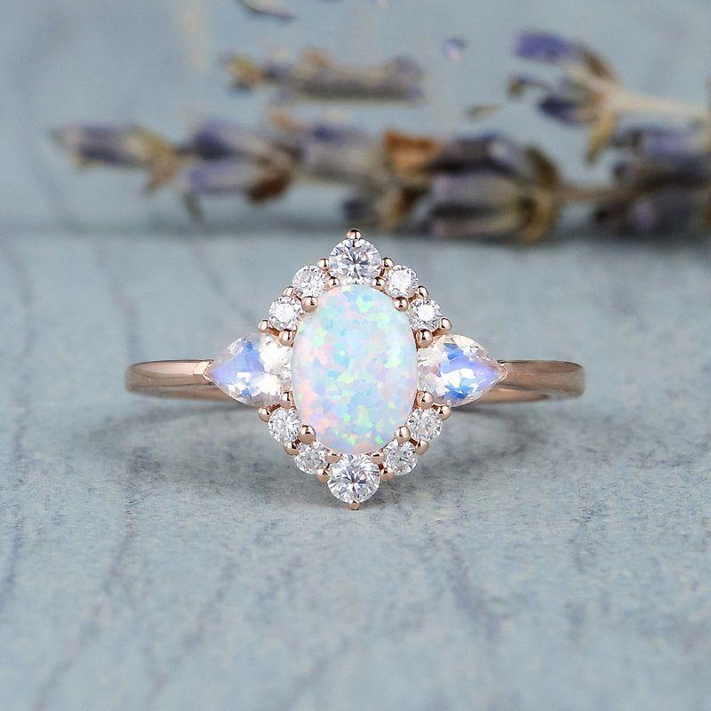 Fashion Moonstone Gemstone Anillo de piedras preciosas para las mujeres chicas opal dedo anillos de boda fiesta de boda regalo de cumpleaños elegante vintage diseño de joyería