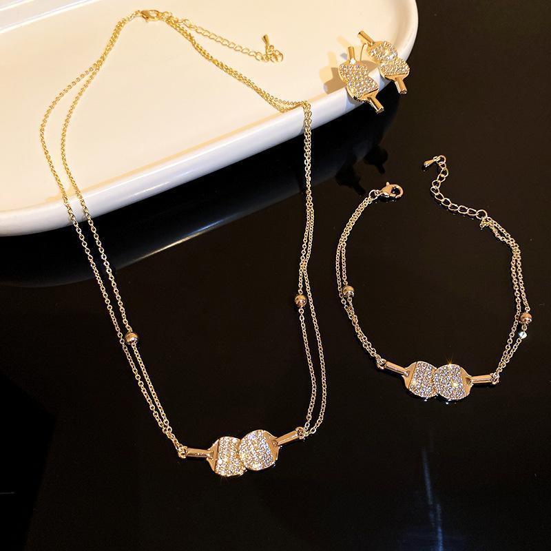 Baumel kronleuchter tisch tennisschläger ohrringe armband halskette set für frauen koreanische modeschmuck sets zubehör mädchen
