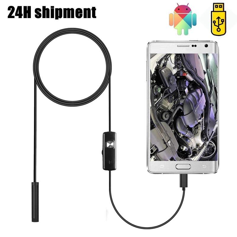Fotocamera Endoscopio da 7mm 5.5mm Flessibile per endoscopio Flessibile IP67 Micro USB Endoscopio industriale per telefono per Android PC 6LED regolabile