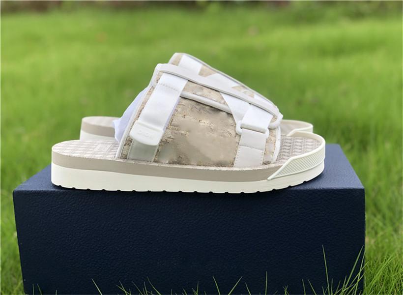 Dior sandals 2021 роскошный дизайн мужские тапочки, наклонные буквы летние сандалии с нейлоновым поясом и удобные резиновые подошвы изношенного размера 38-45