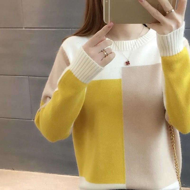 Femmes Sweater Gumprun Automne Hiver Crewneck Fashion Pulls occasionnels Pulls à manches longues Élasticité Amasticity Splice Pullover Top