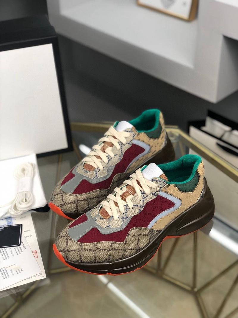 Gucci shoes 2021 Lady Kalın Soled Deri Sneaker Harfler Dantel-Up Platformu Eğlence Kadın Moda Düz Tuval Ayakkabılar Büyük Boy 35-46
