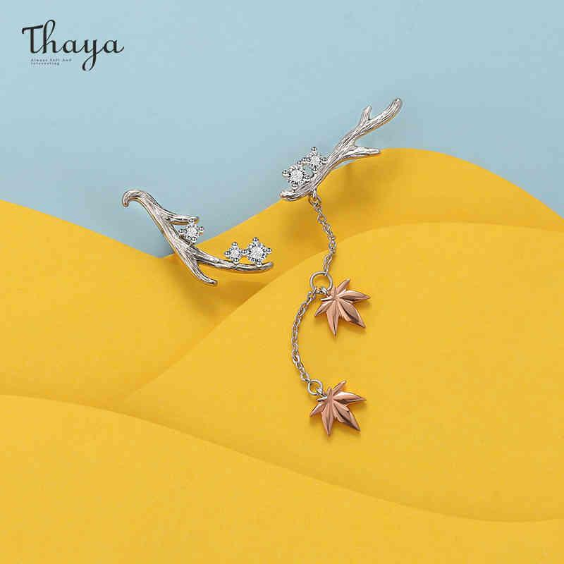 Thaya تصميم الفضة اللون أقراط branches مابل ليف روز الذهب الأزياء وأقراط للنساء أنيقة غرامة مجوهرات هدية 210323