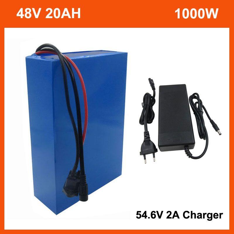 1000 W 48 V 20AH Elektrikli Bisiklet Bisiklet Pil Paketi 500 W 2000 W 13 S 48 V 10AH 15AH 25Ah 30Ah Lityum İyon 18650 Ebike Battery ile PVC Case 30A BMS 54.6 V 2A Şarj