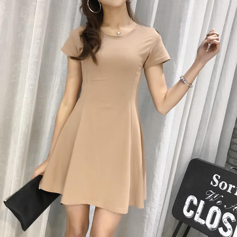 Casual Dresses 2021 Korean Short Sleeve Dress Women's Summer Black High Waist Versatile Slim A-line Umbrella Short Skirt