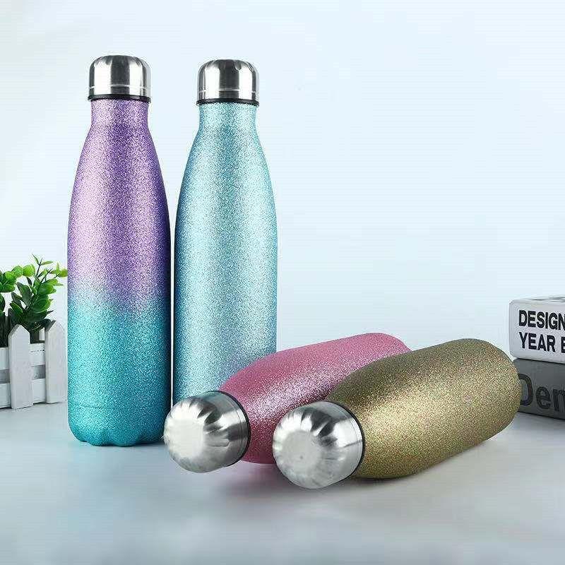 الفولاذ المقاوم للصدأ بريق زجاجات المياه 500 ملليلتر مزدوجة الجدار معزول كولا زجاجة شكل قوارير شرب الرياضة التخييم السفر