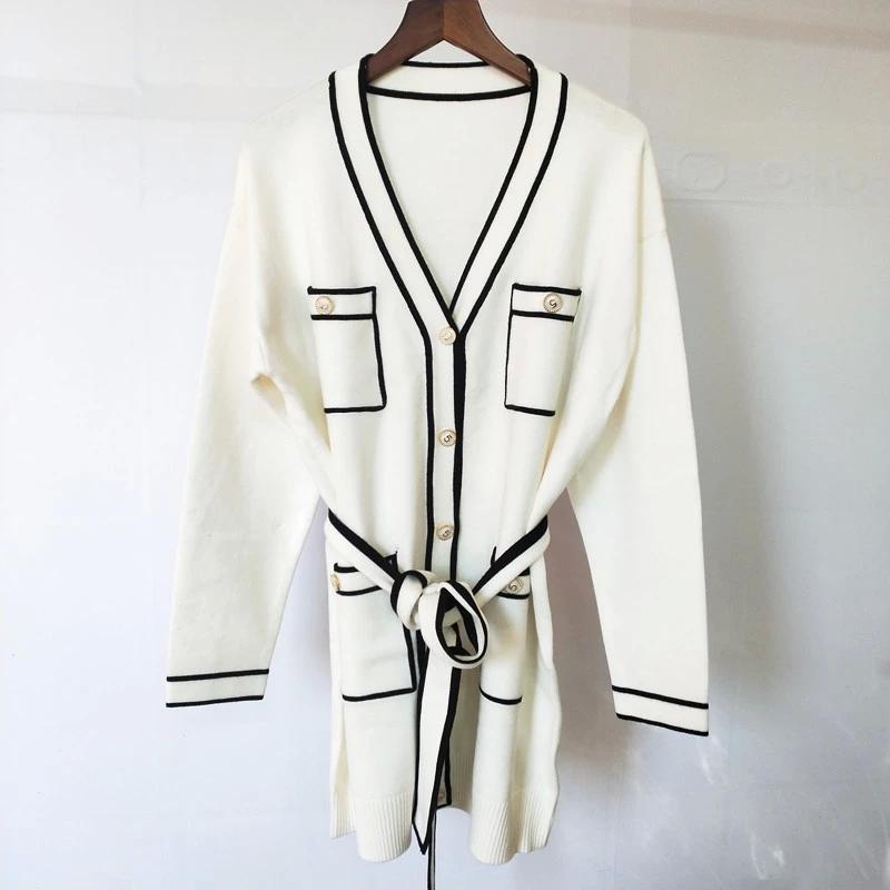 328 2021 весна лето бренд же стиль свитера черный белый красный розовый кардиган высокое качество V шеи с длинным рукавом свитер женской одежды qiani