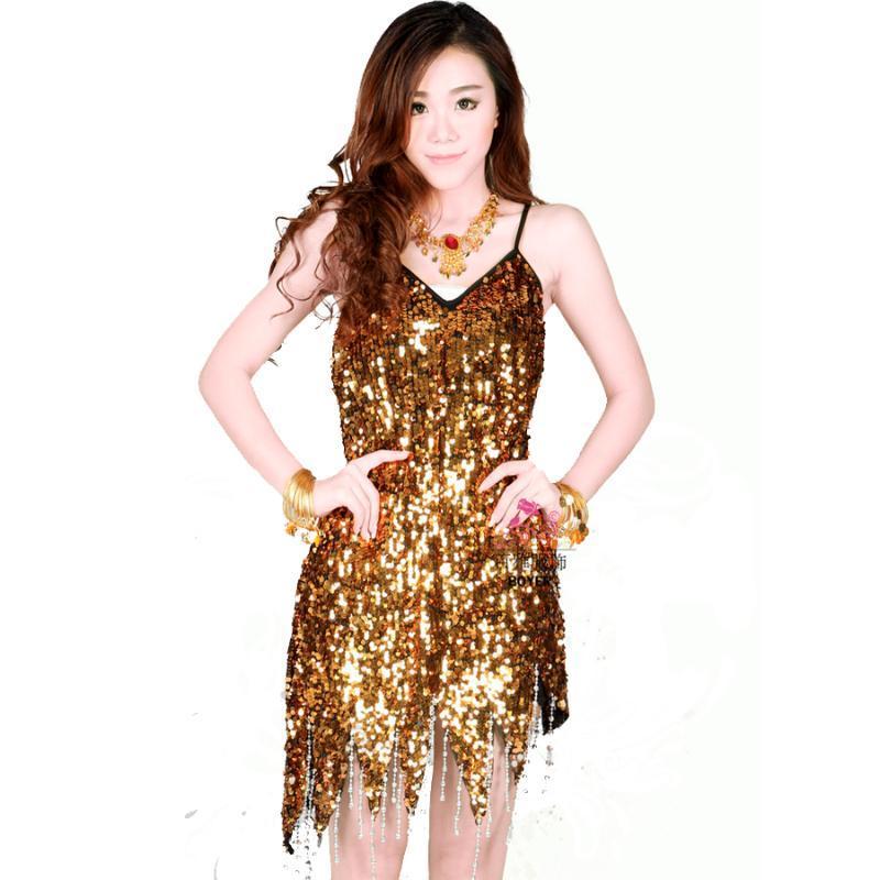 Sequins Tassel Latin Dance Dress Gold/Black/Purple Salsa Dresses Skirt Womens Dancewear Party Decoration