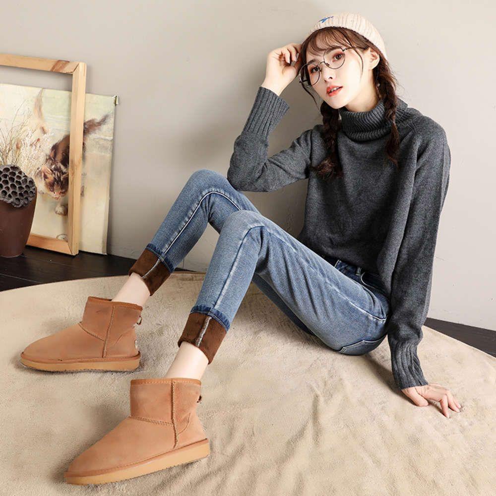 FF9601 2019 New Herf Winter Women Moda Aleatório Denim Broek Plus Kashmir Denominação Hot Cauda Feminina Jeans