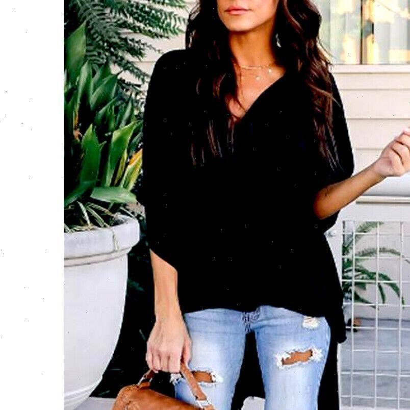 Asimetrik Batwing Kol Kadın Bluzlar V Boyun Katı Asimetrik Tunik Rahat Şifon Yaz Gevşek Baggy Uzun Gömlek Artı Boyutu