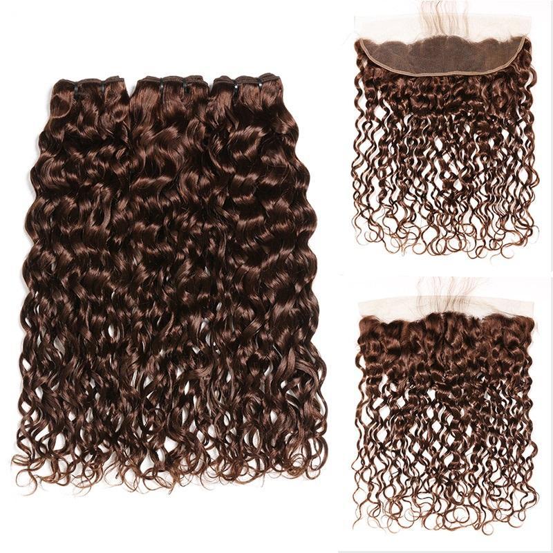 # 4 갈색 물 파도 레미 인간의 머리 위사 묶음 레이스 정면 13x4