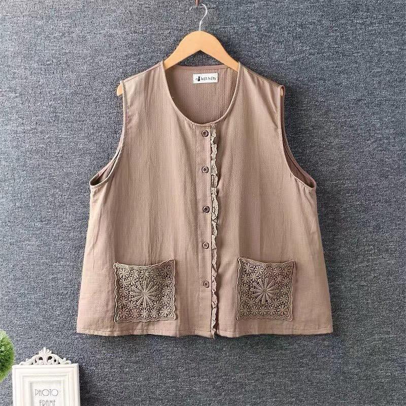 Outono e inverno colete grosso algodão bordado Bolso aberto fivela lace trim zz5581 vestes femininas