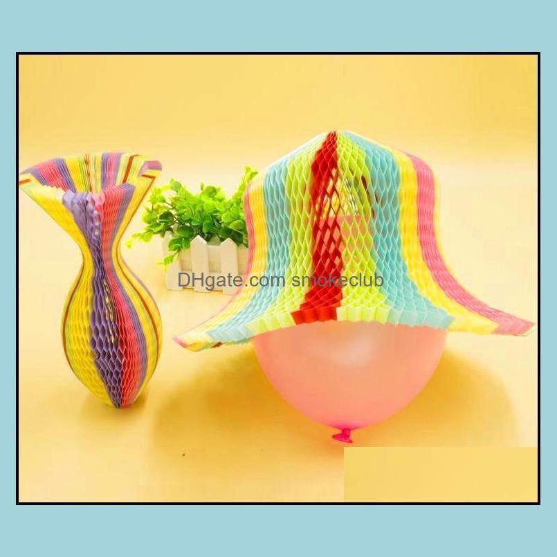 Festive Party Fournitures Accueil GardenParty Hats 100pcs Magic Vase Papier Bonnet pliante à la main pour décorations Casquettes drôles Voyage Sun Colorf Dro