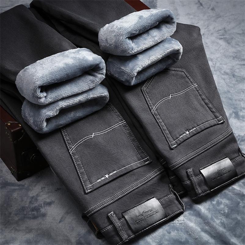 Для холодной тонкой подходящей пригодности толстые бархатные брюки теплые джинсы повседневная серая флис зимние джинсы мужчины черная эластичность серый джинс 210318