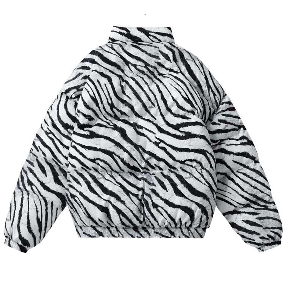 2021 зимняя мужская куртка пальто хип-хоп молнии густой куртки мужчины мода повседневная зебра печать вышитые буквы уличные вершины