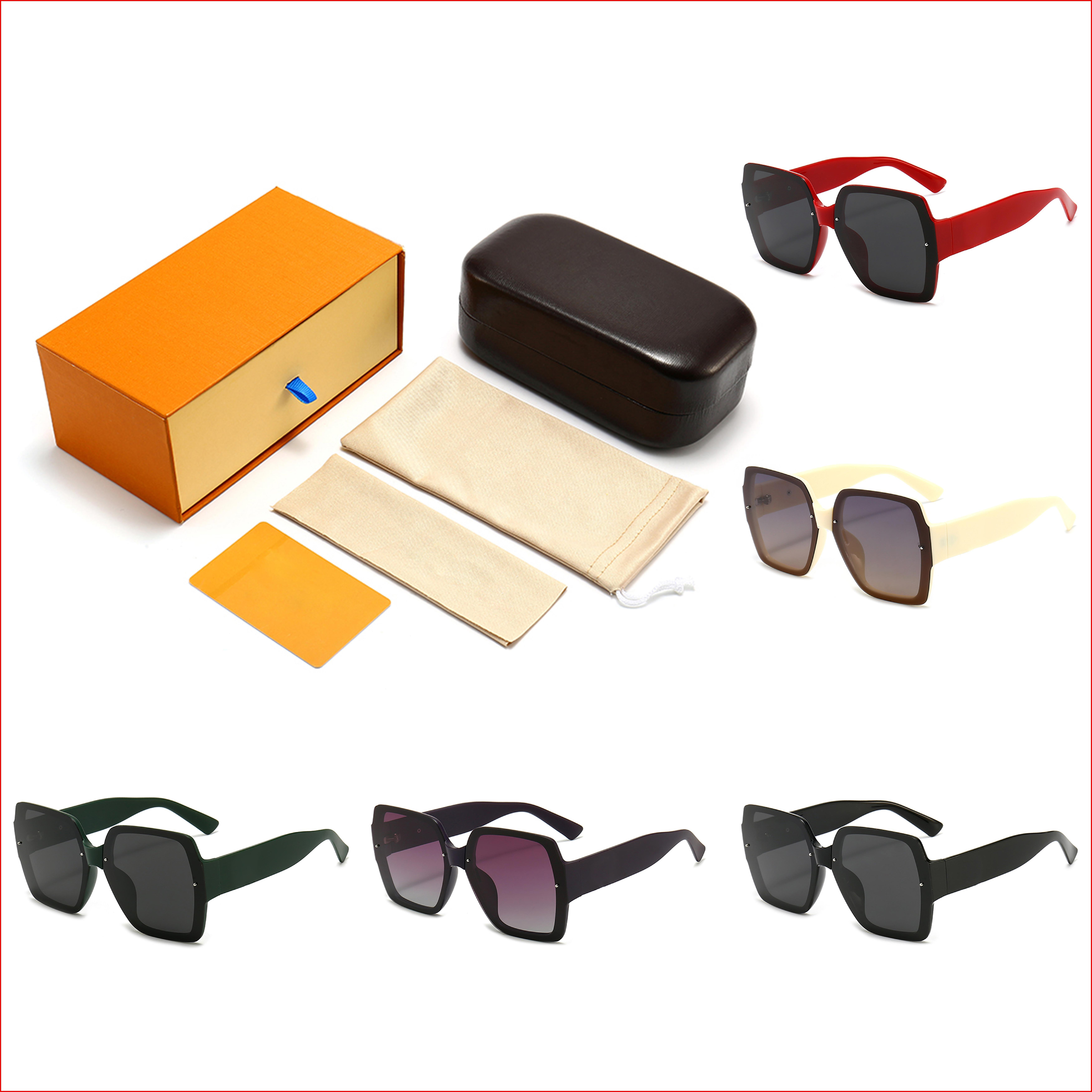 المصممين العلامة التجارية النظارات الشمسية الفاخرة للنساء جودة عالية uv400 هدية مربع مجموعة الأزياء النظارات الكلاسيكية 5 ألوان