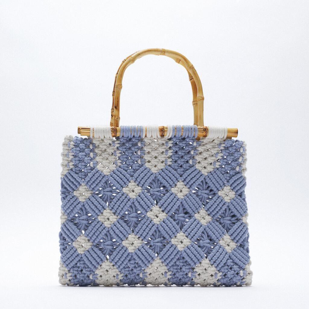 Moda Algodão Tecido Mulheres Saco De Ombro Crochet Mão-tecido Messenger Bag Bambu Mulheres Sacos Sacos De Mão Sacos Femininos Embreagem C0326