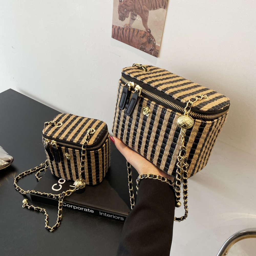Net red small fragrant grass woven stripe bag box cosmetic chain messenger
