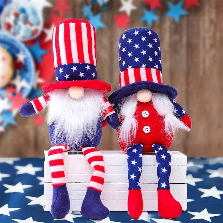 DHL American Independence Day Gnome Red Blue Handmade Patriottic Dwarf Doll Bambola Bambini 4 luglio Regalo Decorazione della casa FY2606
