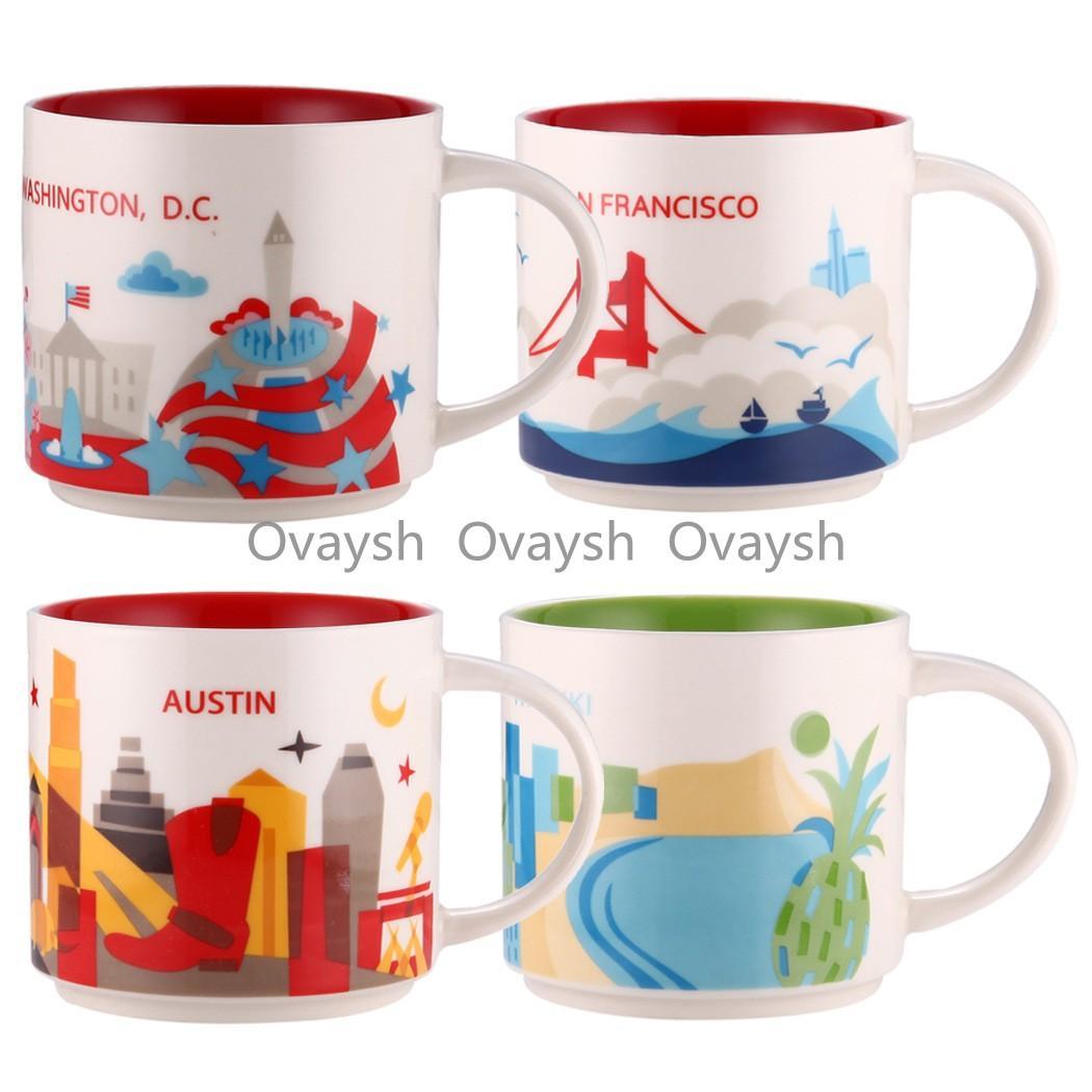 14 oz kapasite seramik starbucks kupa Amerikan şehirleri en iyi kahve fincanı ile kutu new york city