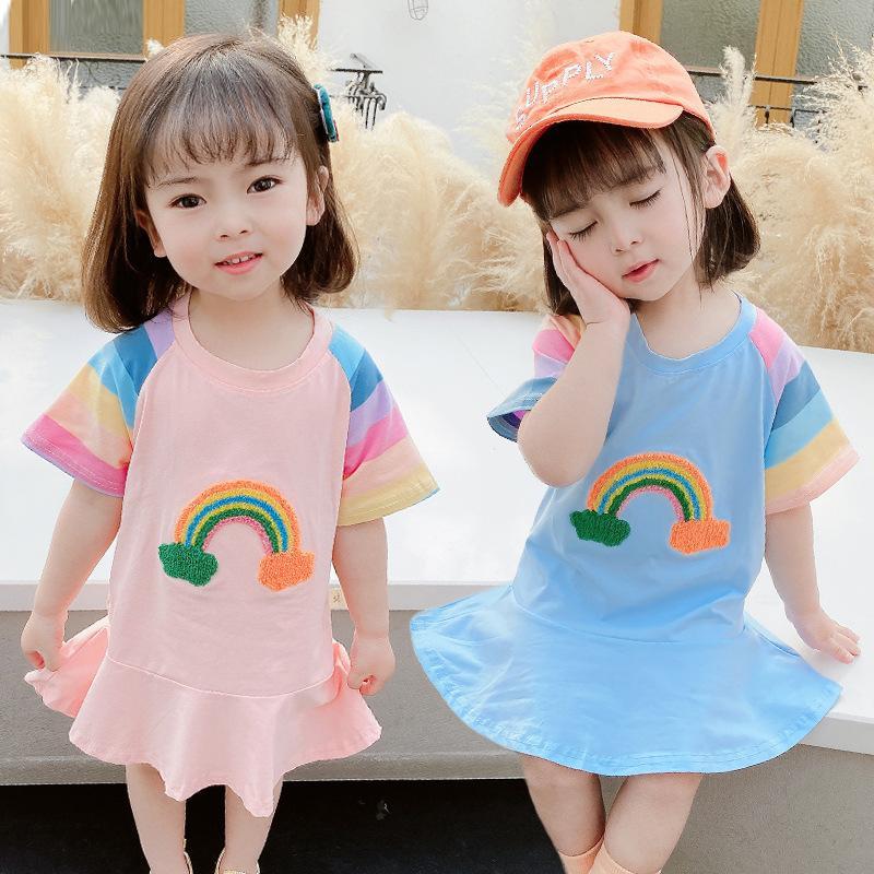 2021 Summer New Carino Abito da bambino manica corta Carino Gonna casual cinese e coreana per bambini