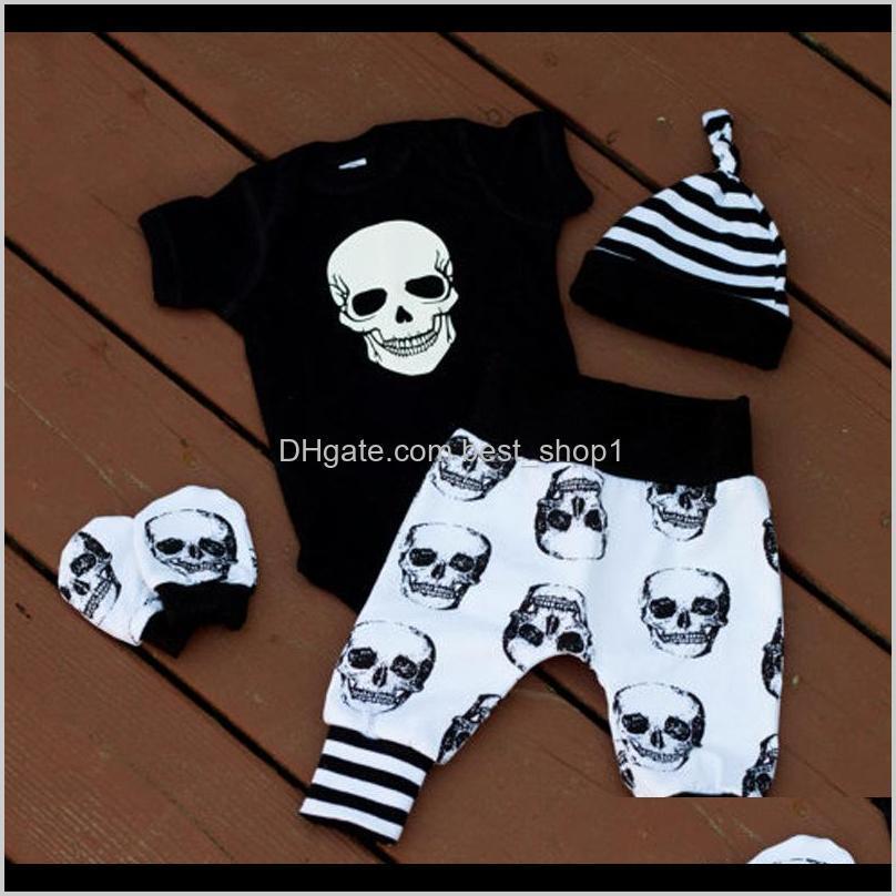 EST Automne Halloween Crâne Babilly Vêtements Born Set Enfant Garçons Filles Burper Combignez Jumpsuit Tops Leggings Pantalon Chapeau Tenue 4PCS 024M QDLBO CLO PBOSX
