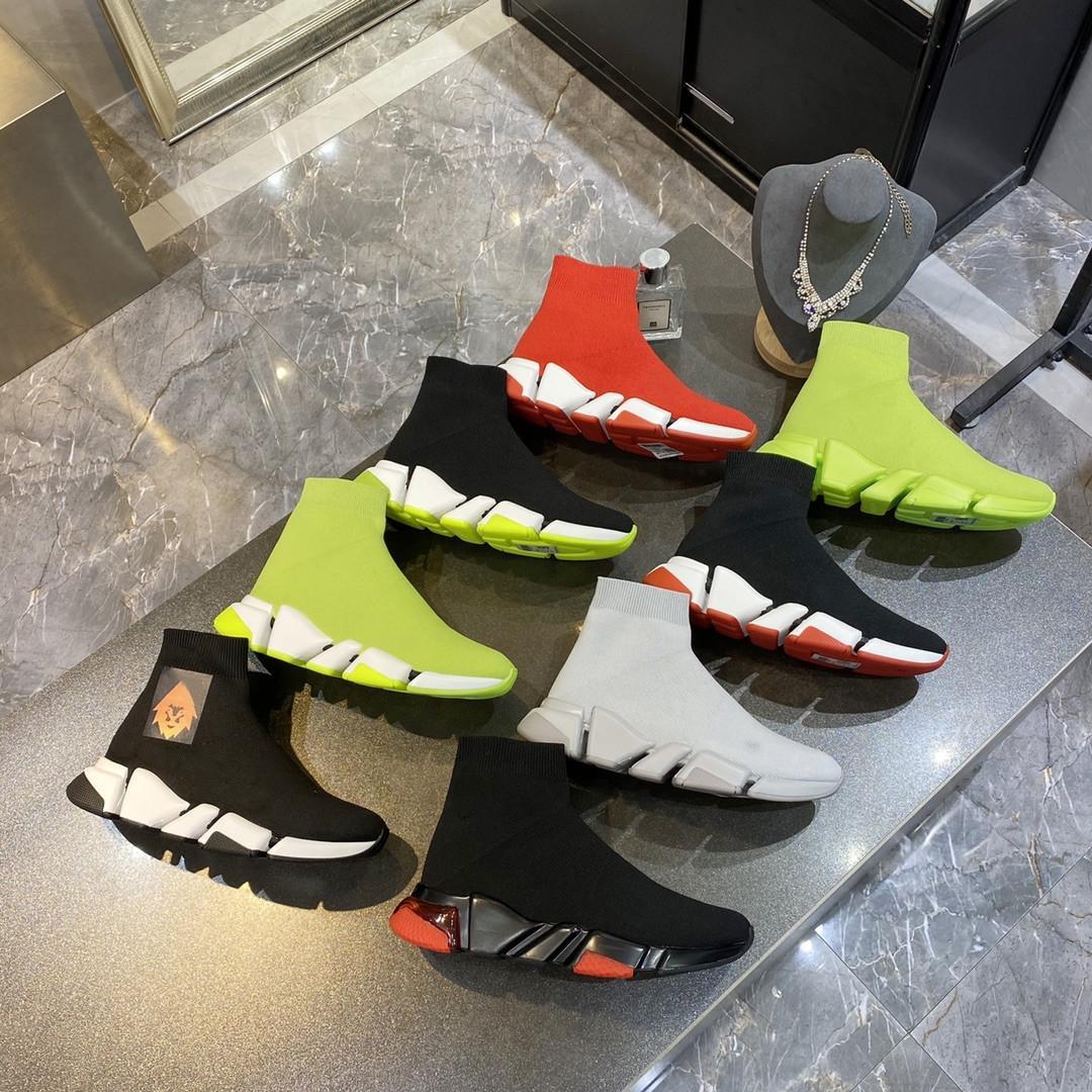 [С коробкой] 2021 дизайнерские носки спортивная обувь мужская скорость 2.0 тренажеры роскошные женщины мужчины бегуны кроссовки кроссовки носки сапоги платформы размером 36-45 # 579