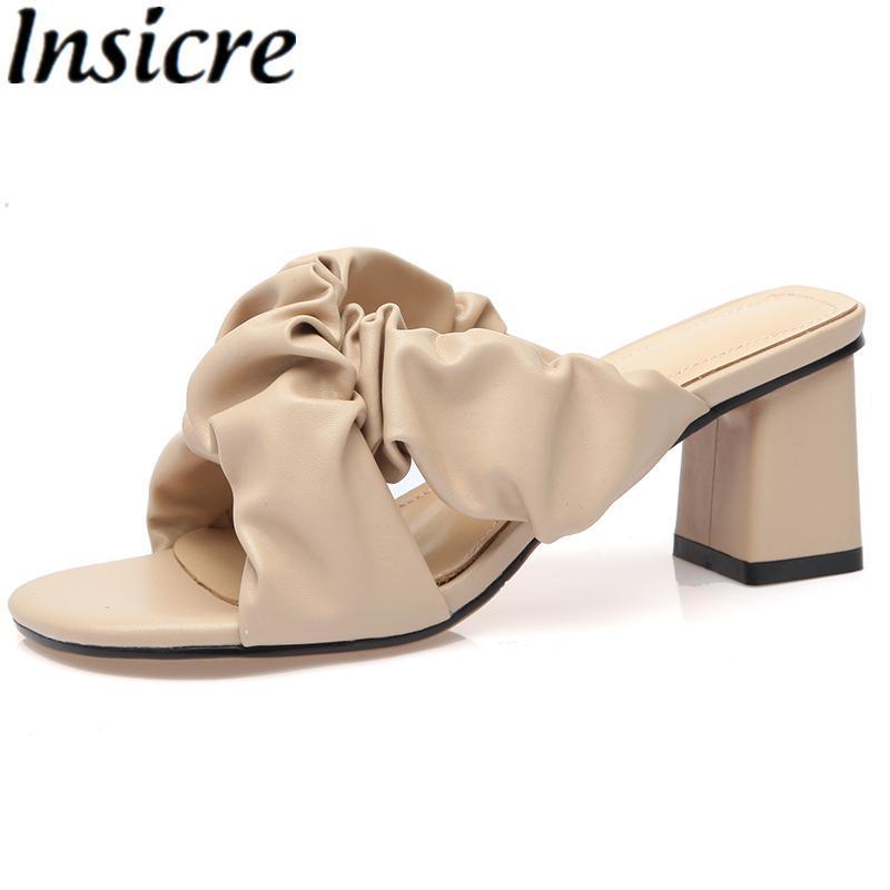 Insisre Inek Deri Kare Toe Kadın Sandalet 2021 Moda Kalın Yüksek Topuk Ayakkabı Siyah Pileli El Yapımı Terlik Boyutu 42