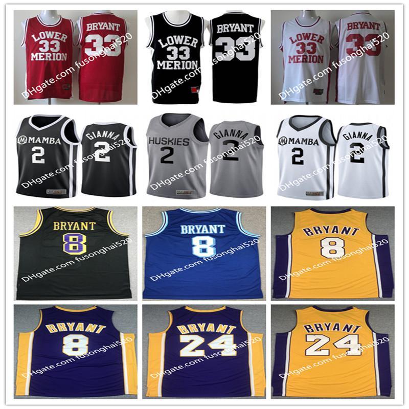 NCAA 2012 Team USA Merion 33 Bryant Jersey Mamba College Hommes High School Basketball Hightower Crenshaw 44 Rouge Blanc Black 2 gigi Vintage chemises cousues